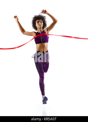 Woman running, crossing finish line. Photo of young african woman isolated on white background. Sport and healthy - Stock Photo