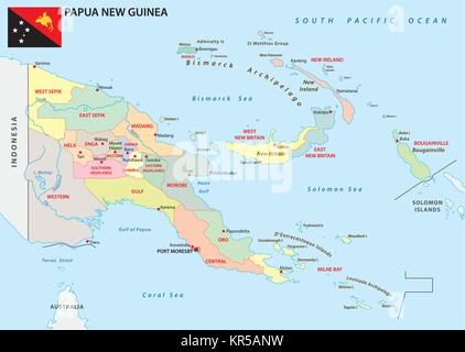 papua new guinea administrative and political vector map with flag - Stock Photo