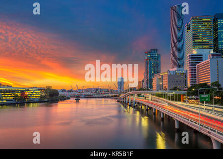 Brisbane. Cityscape image of Brisbane skyline, Australia during dramatic sunset. - Stock Photo