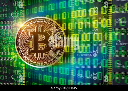 Coin with Bitcoin sign, Münze mit Bitcoin-Zeichen - Stock Photo