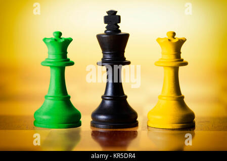 Chess pieces in the colours Black, Yellow and green, symbolic photo Jamaica coalition, Schachfiguren in den Farben - Stock Photo