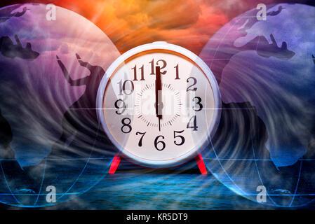 Alarm clock on 12 o'clock and globe, symbolic photo climate change, Wecker auf 12 Uhr und Erdkugel, Symbolfoto Klimawandel