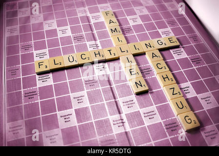 Letters form the words Refugees, Families and Relief train, Symbolic photo migration and family relief train, Buchstaben - Stock Photo