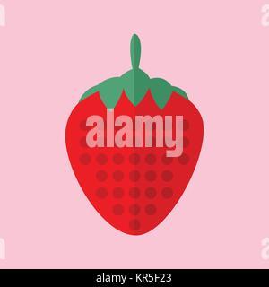 Simple Flat Strawberry Vector Illustration Graphic Design - Stock Photo