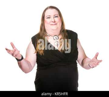 Transgender Woman in Black Dress with Hands Outstretched - Stock Photo