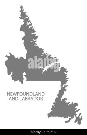 Newfoundland and Labrador Canada Map grey - Stock Photo