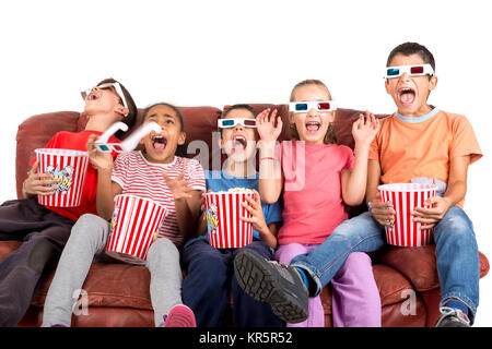 Kids in the movies - Stock Photo