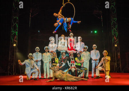 London, UK. 19th December, 2017. The cast - The Moscow State Circus returns to Ealing Common this Christmas with - Stock Photo