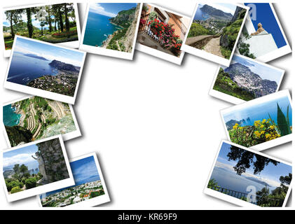 The collage from views of Capri island, Italy, near Naples.