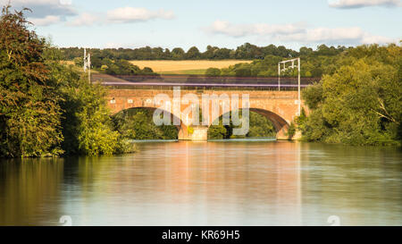 Reading, England, UK - August 29, 2016: A First Great Western Intercity 125 express train at Goring Gap in Berkshire, - Stock Photo