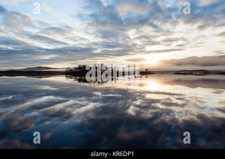A misty autumn morning on Loch Ba, a favourite spot on Rannoch Moor in the Scottish Highlands - Stock Photo