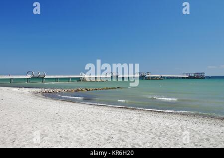view of the pier of kellenhusen,baltic sea,schleswig-holstein - Stock Photo