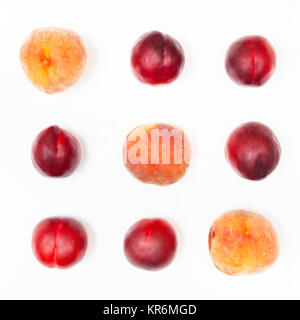 several nectarines and peaches arranged in square - Stock Photo