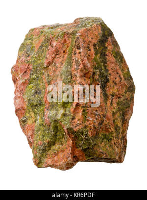Raw, uncut unakite from South Africa isolated on white background - Stock Photo