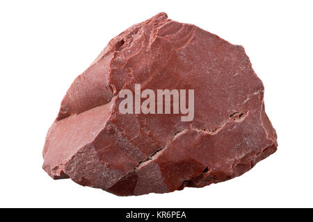 Uncut, raw red jasper from Africa isolated on white background - Stock Photo