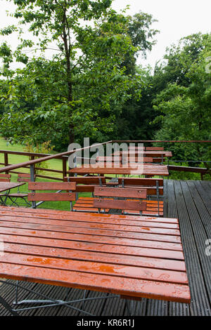 beer garden tables in the rain Stock Photo: 169180189 - Alamy