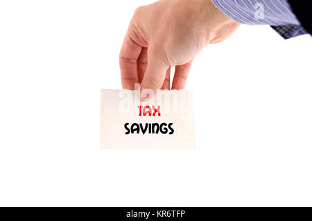 Tax savings text concept - Stock Photo