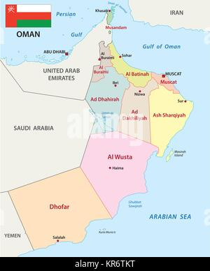 oman administrative and political vector map with flag - Stock Photo