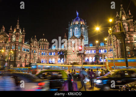 Illuminated Chhatrapati Shivaji Maharaj Terminus (CSMT) formerly known as Victoria Terminus Railway station, Mumbai, - Stock Photo