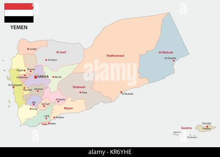 yemen administrative and political map with flag - Stock Photo