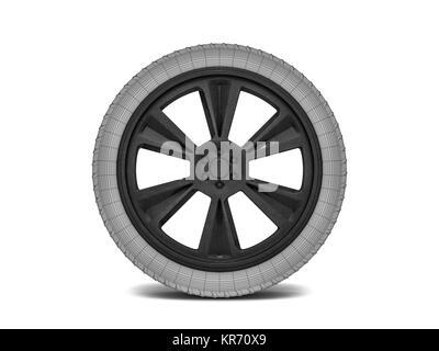 Wheels with blackened rim. Sketch. 3D rendering - Stock Photo