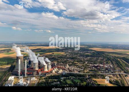 Kraftwerk Niederaussem, RWE Power, power generation, brown coal power station, base load power station chimneys, - Stock Photo