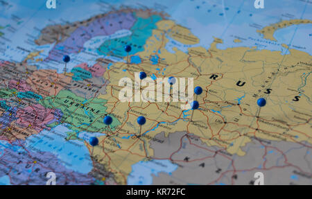 Moscow Pinned with other world cup venue cities in a closeup map for ...