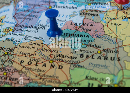 Kaliningrad City Pinned On A Map Of Russia Among Other World Cup