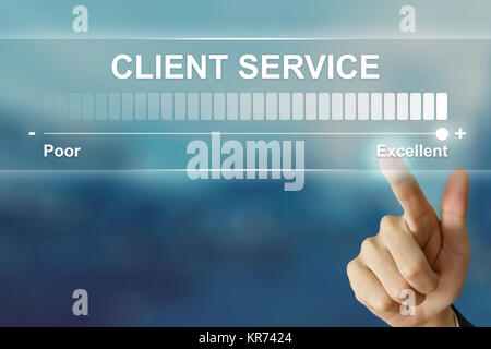 business hand clicking excellent client service on virtual screen - Stock Photo