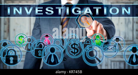 Private Investigator Pressing INVESTIGATION - Stock Photo