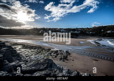 The village of Aberporth on the Cardiganshire coast, West Wales - Stock Photo