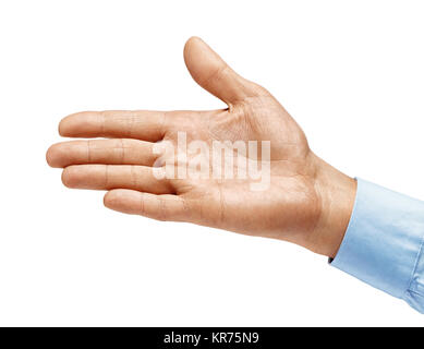 Man's hand in shirt outstretched in greeting isolated on white background. Close up. High resolution product - Stock Photo