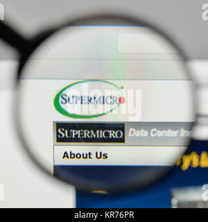 Milan, Italy - November 1, 2017: Supermicro logo on the
