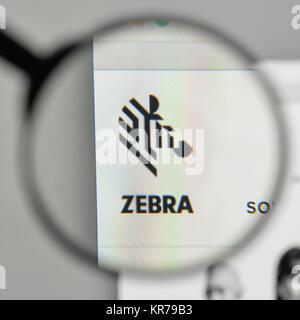 Milan, Italy - November 1, 2017: Zebra Technologies logo on the