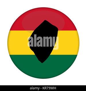 Swaziland map on a Rastafarian flag button - Stock Photo