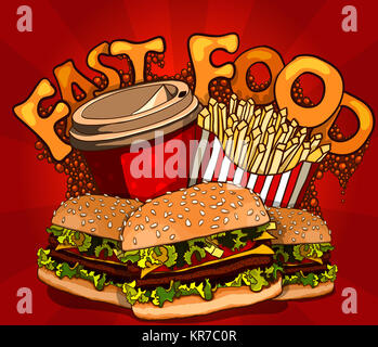 fast food banner with cola, hamburger and fries - Stock Photo