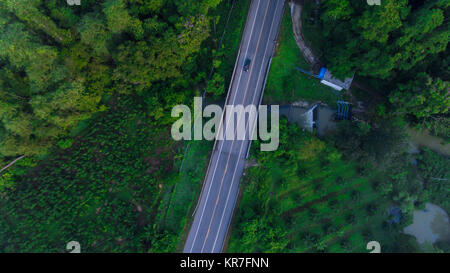 Aerial view over mountain road going through forest landscape in morning - Stock Photo