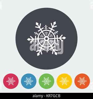 Snowflake. Single flat icon on the circle. Vector illustration. - Stock Photo