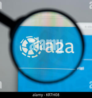 Milan, Italy - August 10, 2017: A2A website homepage. It . A2A logo visible. - Stock Photo