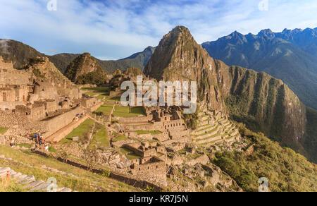 Panoramic of Machu Picchu ruins in Cuzco, Peru - Stock Photo