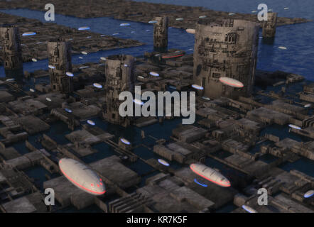 3D rendering. Futuristic city and alien planet - Stock Photo