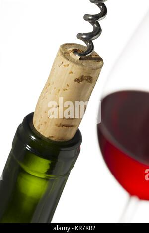 wine bottle with cork and winegass - Stock Photo