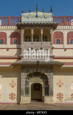 Beautifully decorated door in Jaipur City Palace, Rajasthan, India - Stock Photo