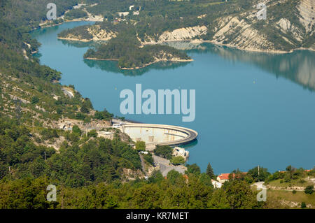 Aerial View over Castillon Lake, Reservoir and Hyroelectric Dam near Castellane, in the Verdon Valley, Alpes-de - Stock Photo