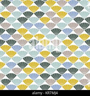 Colorful fan background. Based on Traditional Japanese Embroidery. Abstract Seamless pattern. Based on Sashiko stitching - Stock Photo