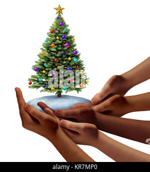 Diverse people christmas holiday as a group of hands representing ethnic diversity together holding a holiday decorated - Stock Photo