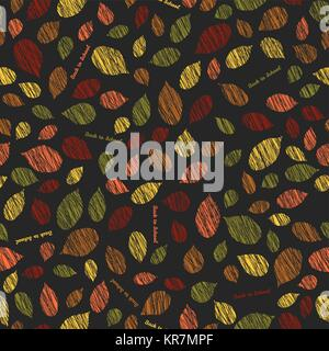 Back to school. Autumn pattern with scratched leaves. Contrast seamless pattern with scratched raspberry leaves. - Stock Photo