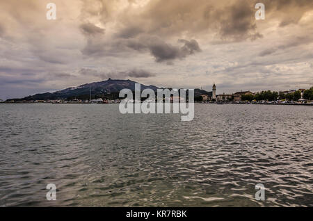 View from the sea port and town of Zakynthos main town of the island of the same name - Stock Photo