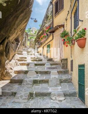 Scenic view of Castelmezzano, province of Potenza, in the Southern Italian region of Basilicata. - Stock Photo