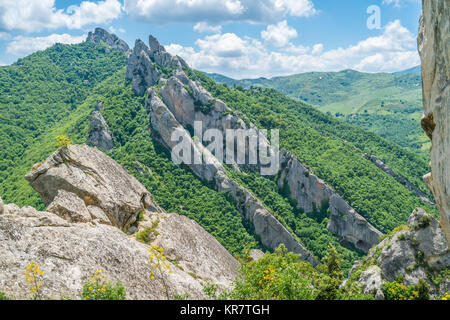 Panoramic view in the Lucanian Dolomites, province of Potenza, Basilicata. - Stock Photo
